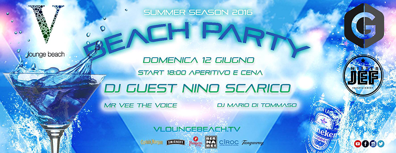 V Lounge Beach Party Domenica 12