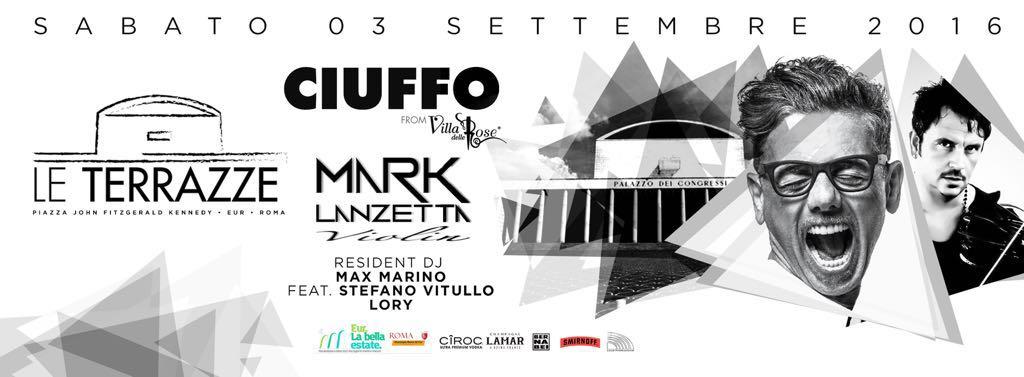 Discoteca Roma Le Terrazze sabato 3.9 Ciuffo Dj Villa delle Rose