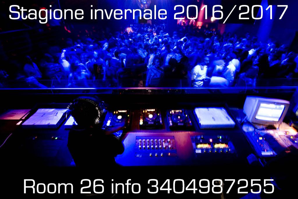 Inaugurazione Room 26 Discoteca Roma stagione invernale 2016 2017
