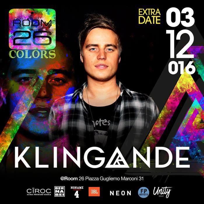 Klingande Room 26 discoteca Roma sabato 3 dicembre 2016