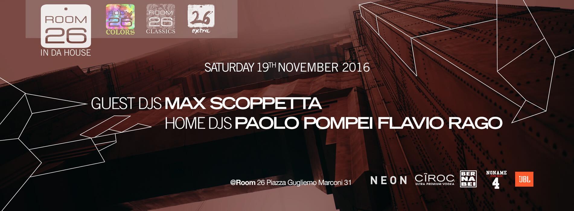 Room 26 Discoteca Eur sabato 19 novembre 2016