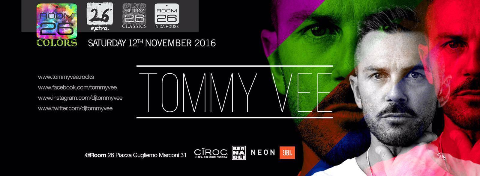 Tommy Vee dj Room 26 Eur Roma sabato 12.11.16