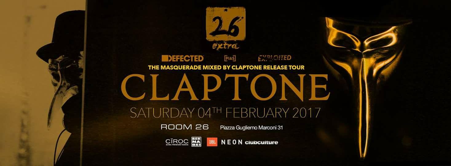 Claptone dj Room 26 sabato 4 febbraio 2017 lista e privè
