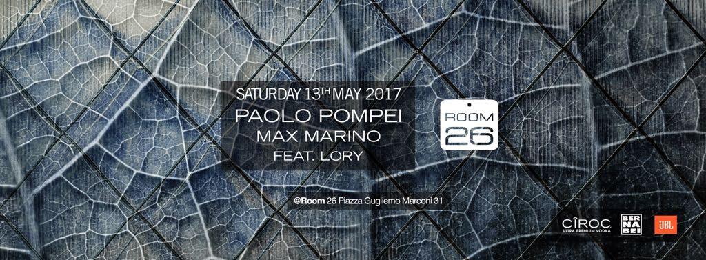 Sabato 13 maggio 2017 Room 26 serata house a Roma