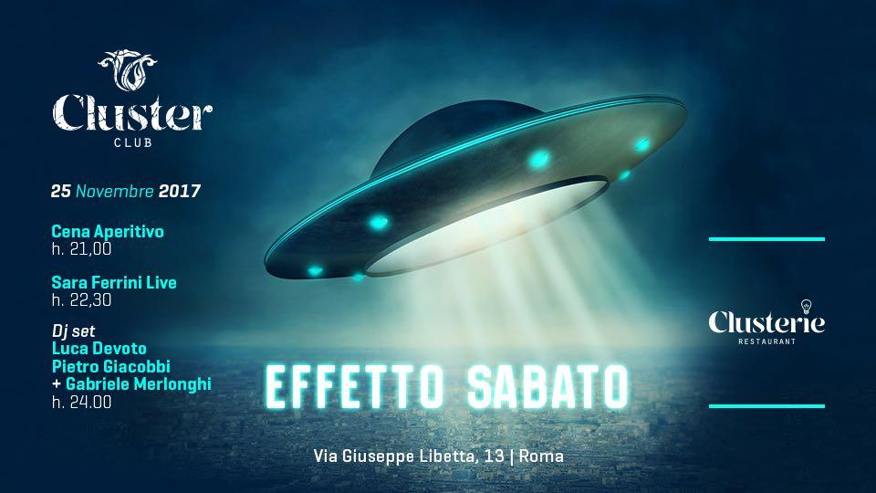 Cluster Roma sabato 25 11 2017 Cena Aperitivo Disco