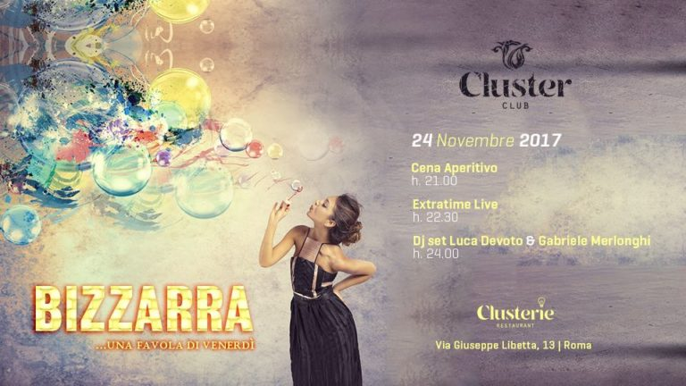 Cluster Roma venerdì 24 novembre 2017 Cena Aperitivo Discoteca
