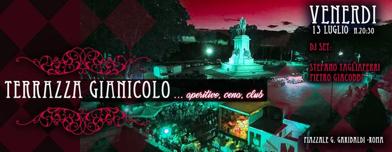 Terrazza Gianicolo Aperitivo live e disco venerdì 13 luglio 2018