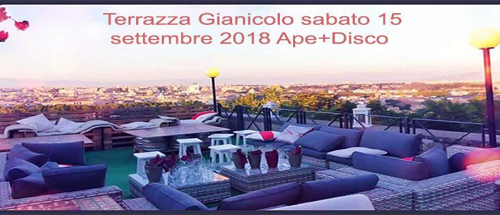 Aperitivo panoramico Roma Terrazza Gianicolo sabato 15 settembre 2018