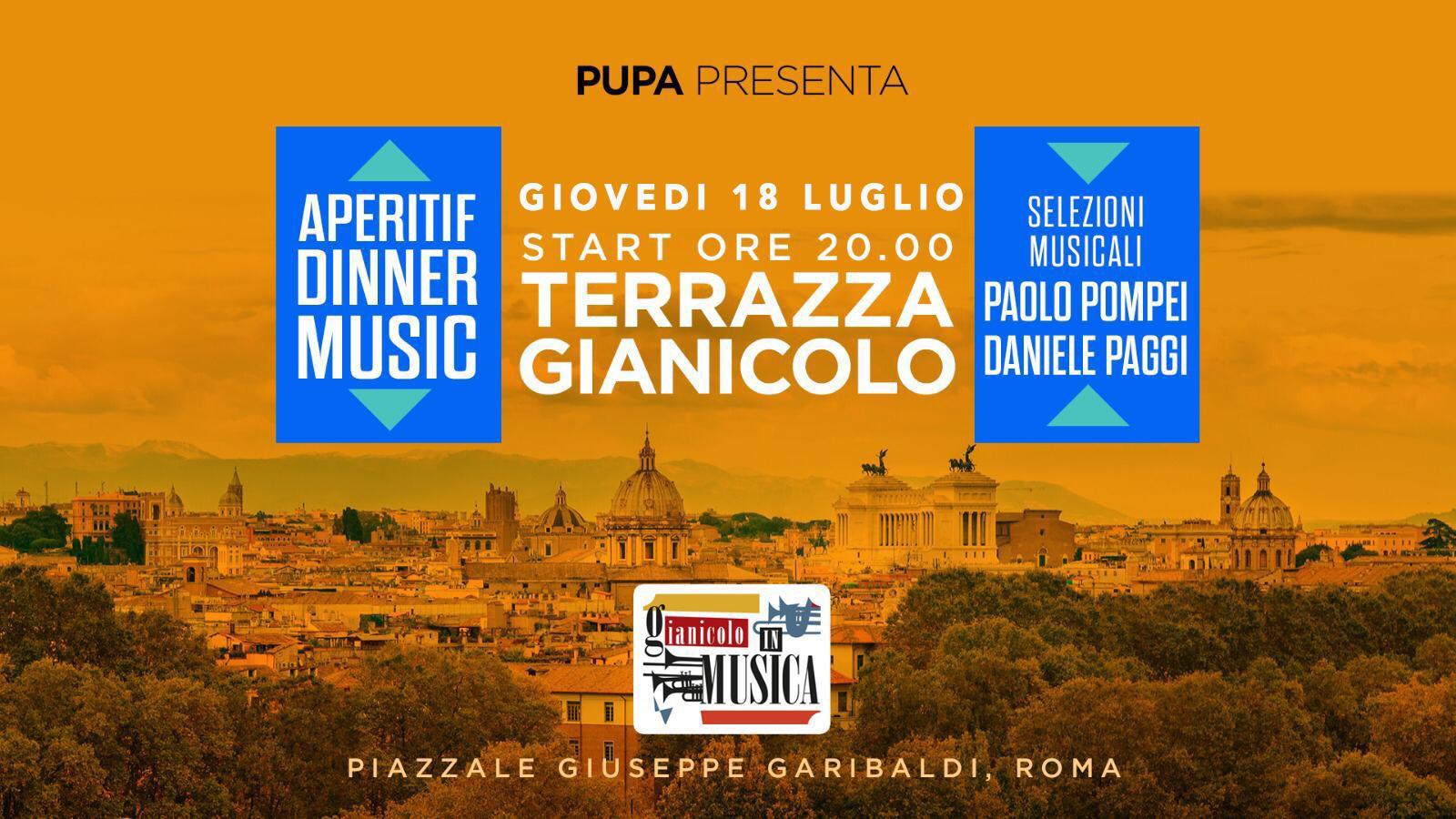 Terrazza Gianicolo giovedì 18 luglio 2019 Aperitivo e Disco PUPA 🍋