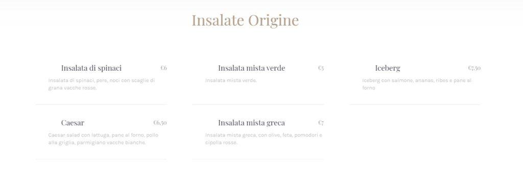 Insalate Origine