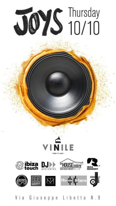 Vinile Roma giovedì 10 ottobre 2019 JOYS Aperitivo Discoteca