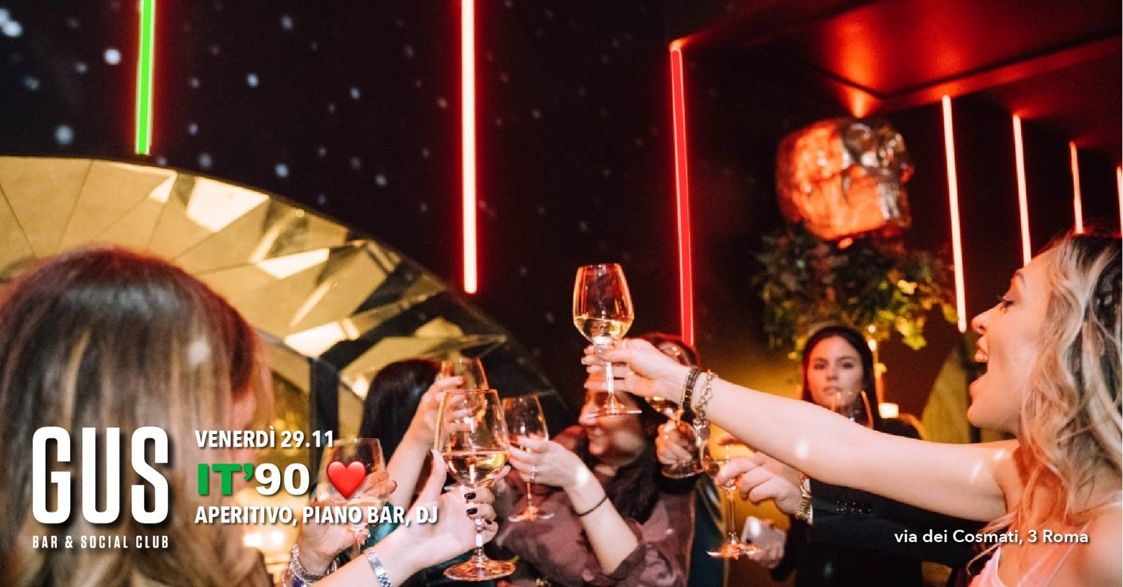 Aperitivo e Disco GUS Club venerdì 29 novembre 2019 Roma Prati