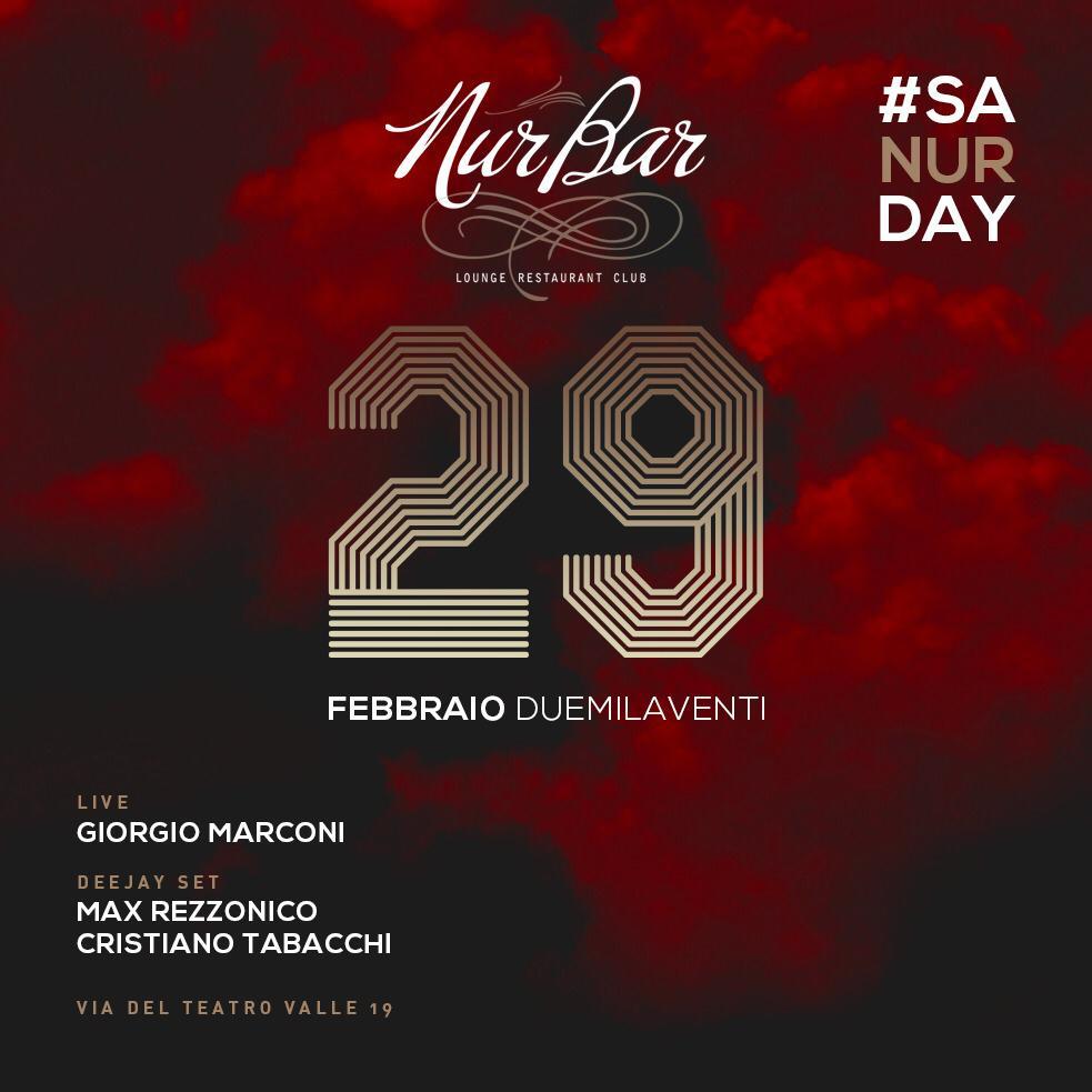 Discoteca NUR Bar sabato 29 febbraio 2020 Aperitivo a Roma centro