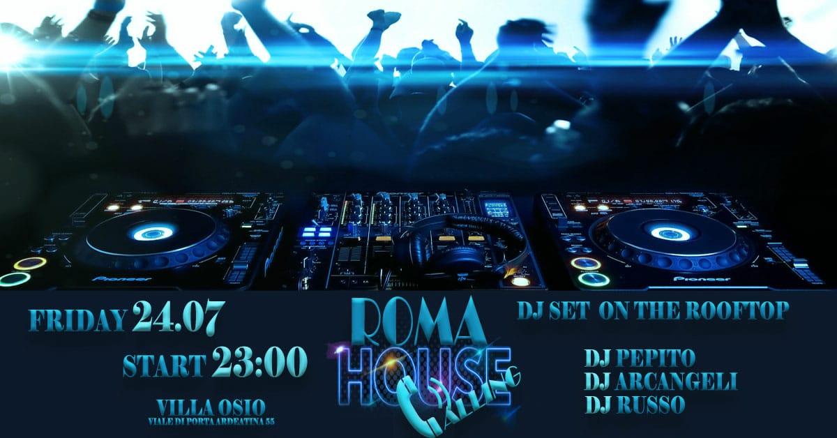 roma house calling djset in terrazza villa osio venerdì 24 lglio 2020