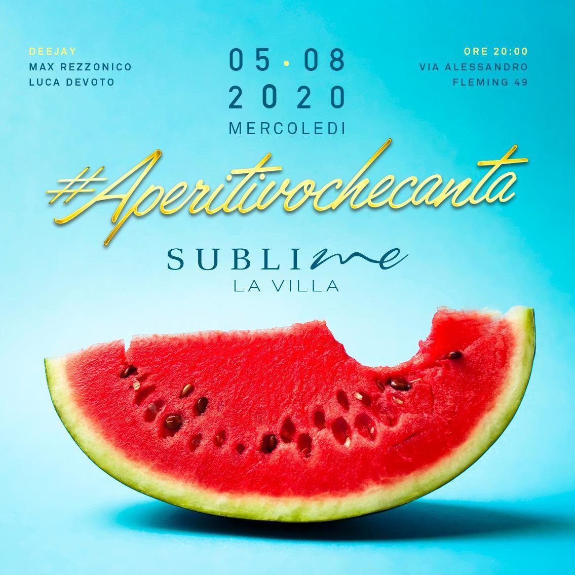 Aperitivo che canta mercoledì 5 luglio 2020 @ La Villa Sublime Roma