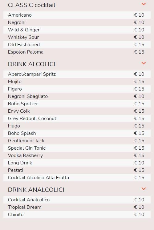 drink boho chic prezzi listino